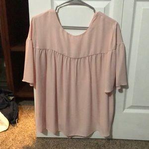 Loft Outlet 3/4 Sleeve Pink Tie-Back Shirt